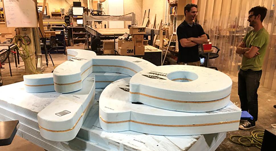 xoxo Philadelphia art sculpture in progress at NextFab makerspace