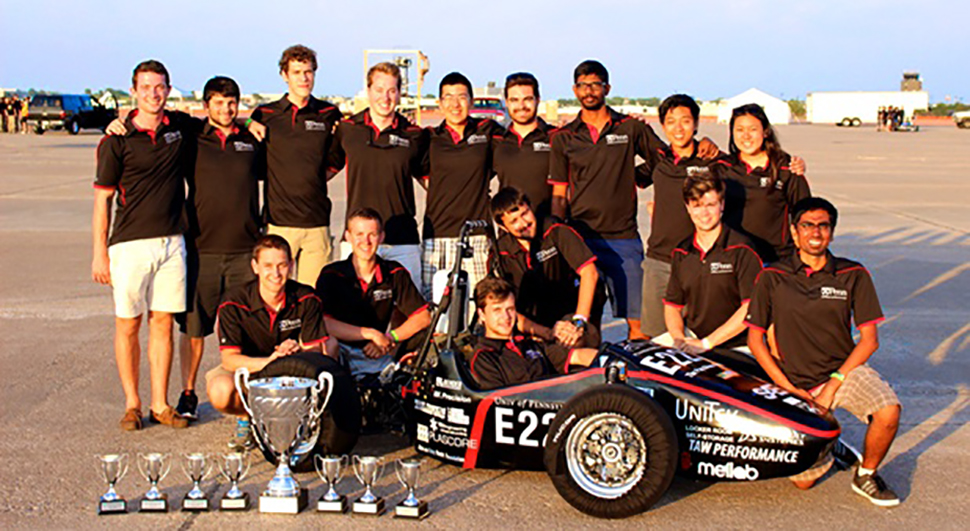 Photo of the Penn Electric 2015 Racing team with the Rev1