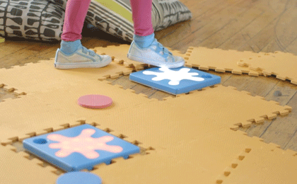 Unruly Splats: Active STEM Play - Programmable electronic floor tiles that kids can code