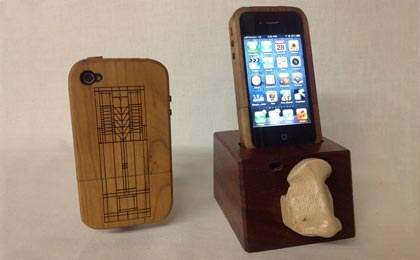 Wooden iPhone Case, Cradle and Glass Holders