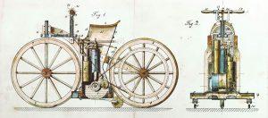 Daimler Reitwagen Patent Drawing