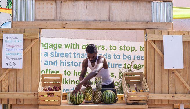 Vendor sets up at Wilmington Delaware's Greenbox