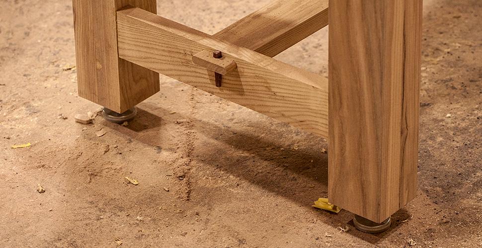 Close up of work bench craftsmanship NextFab