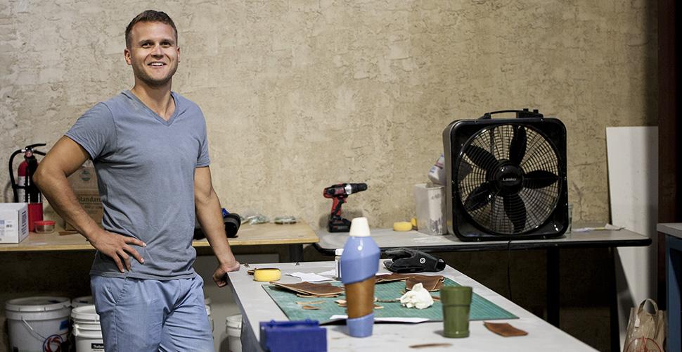 Mark Brandon in the ceramics studio
