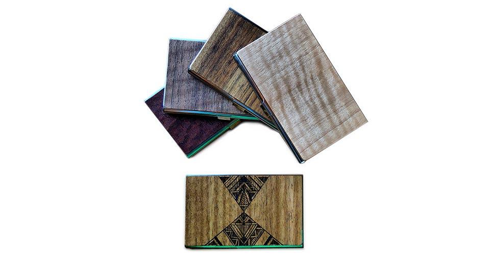 Wooden business card carrier