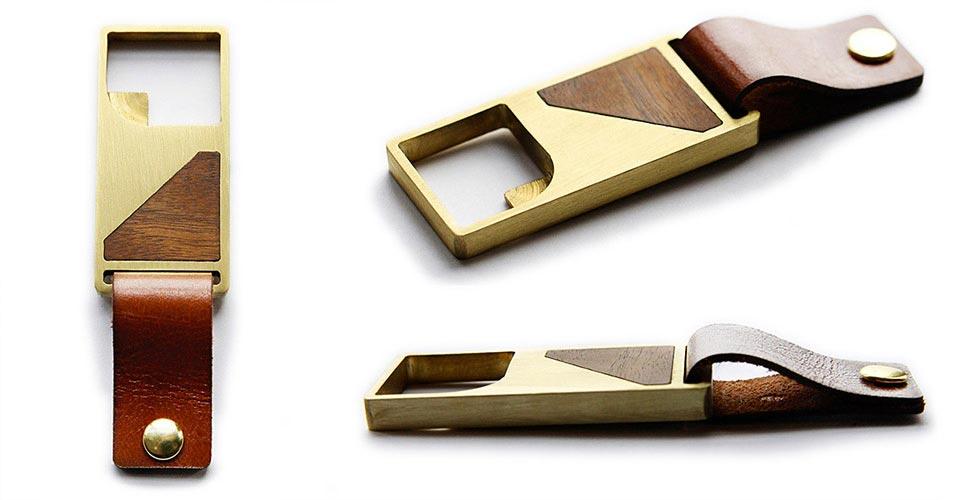 Stylish bottle opener with leather strap