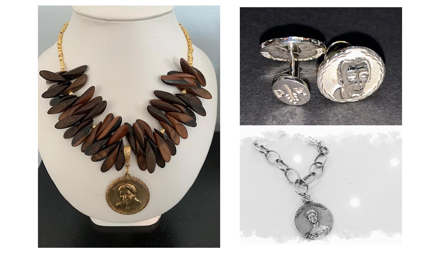 Nina Grier of Historical Dream jewelry necklace, cufflinks, and bracelet