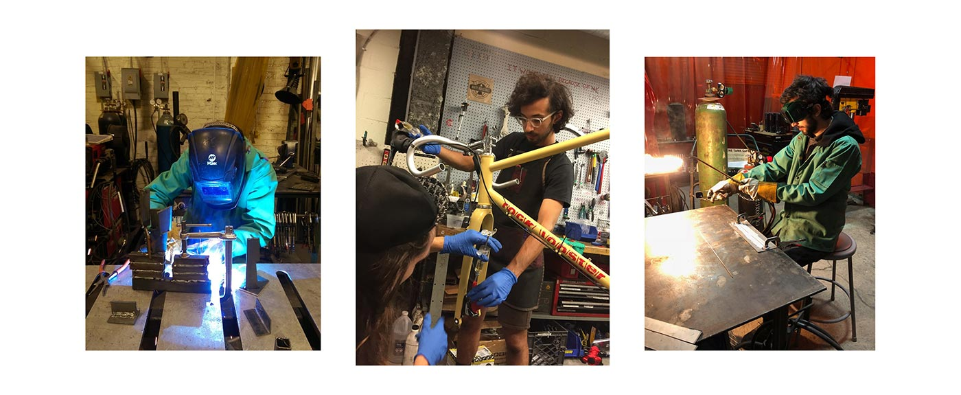 Zack Rachell building custom made bikes and bike parts at NextFab makerspace
